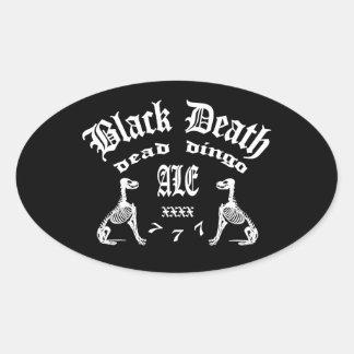 Muerte negra 777 - cerveza inglesa muerta del pegatina ovalada