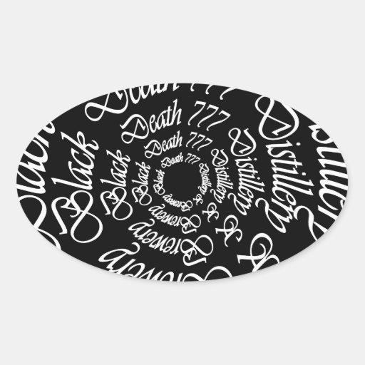 Muerte negra 777 - círculos calcomanía óval