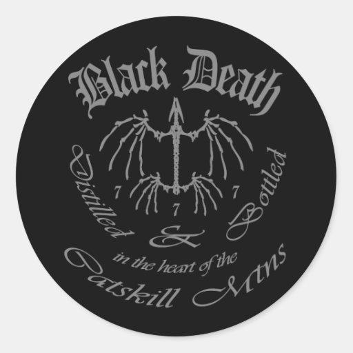 Muerte negra 777 - montañas de Catskill Etiquetas Redondas