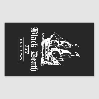 Muerte negra 777 - Ol envía el ron Pegatina Rectangular