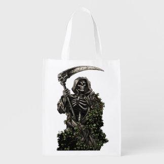 Muerte - parca esquelético malvado con la guadaña bolsas reutilizables