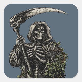 Muerte - parca esquelético malvado con la guadaña pegatina cuadrada