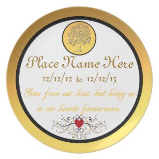 Muerte personalizada de una una placa amada de la  platos para fiestas