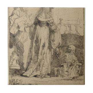 Muerte que aparece a un par casado de Rembrandt Azulejo Cuadrado Pequeño