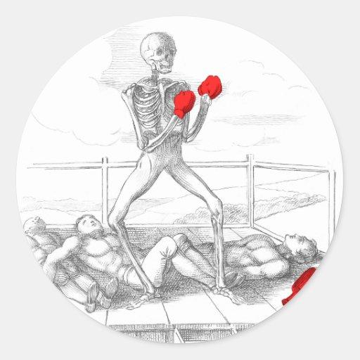 Muerte que los Fisticuffs defienden Pegatina Redonda