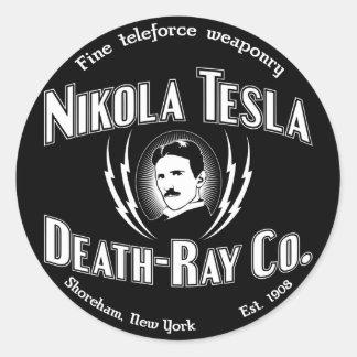 Muerte-Rayo Co. de Nikola Tesla Pegatina Redonda