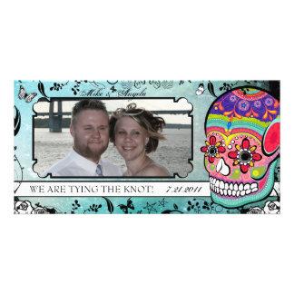 Muerte Sugar Skull Calaveras Save the Date Customized Photo Card