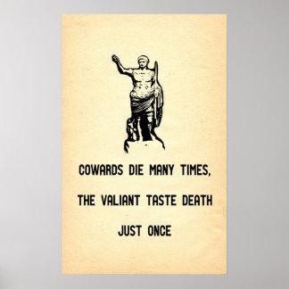 Muerte valerosa del gusto de la cita de César sola Posters