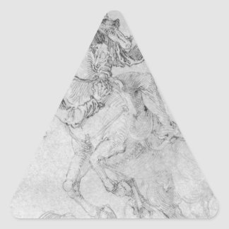 Muerte y jinete de Albrecht Durer Pegatina Triangular