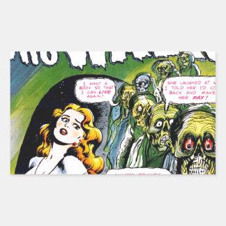 Muerto quién paseo - horror del zombi del vintage pegatina rectangular