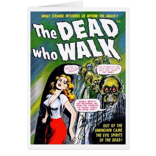 Muerto quién paseo - horror del zombi del vintage felicitaciones