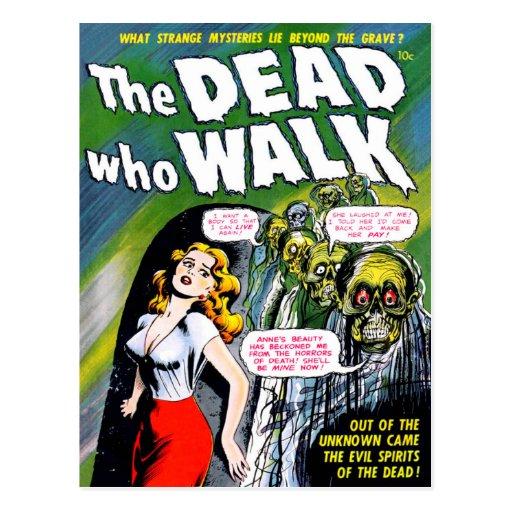 Muerto quién paseo - horror del zombi del vintage postal