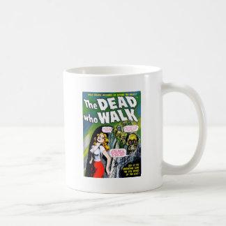 Muerto quién paseo - horror del zombi del vintage taza básica blanca