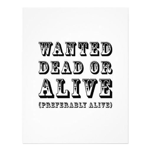 Muertos o vivo queridos tarjetas informativas