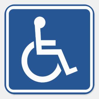 Muestra accesible perjudicada de la silla de pegatina cuadrada