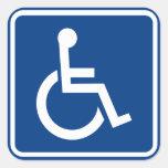 Muestra accesible perjudicada de la silla de rueda calcomanía cuadradas personalizadas