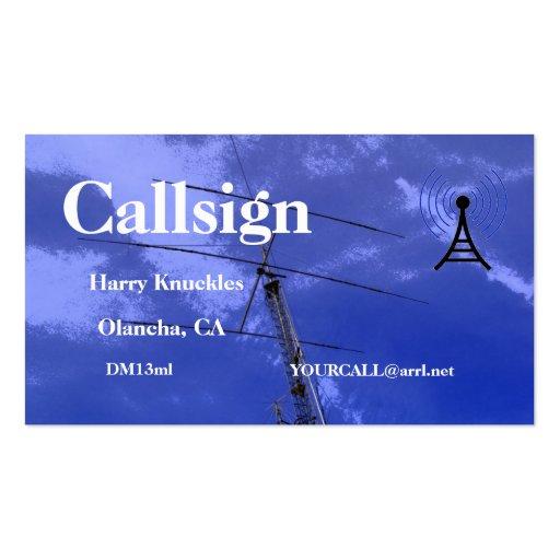 Muestra aficionada de la llamada por radio del haz tarjeta de visita
