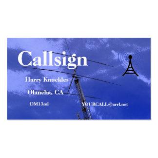 Muestra aficionada de la llamada por radio del haz tarjetas de visita