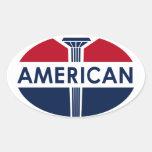 Muestra americana de la gasolinera. Versión plana Pegatinas Óval Personalizadas