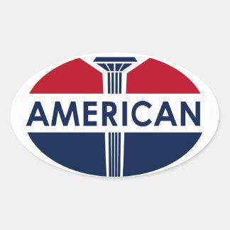 Muestra americana de la gasolinera. Versión plana Pegatina Ovalada