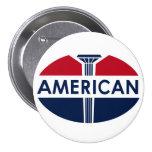 Muestra americana de la gasolinera. Versión plana Pin Redondo De 3 Pulgadas