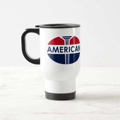 Muestra americana de la gasolinera. Versión plana Tazas De Café