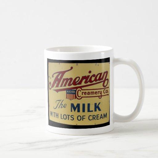 Muestra americana del vintage de la compañía de la taza clásica