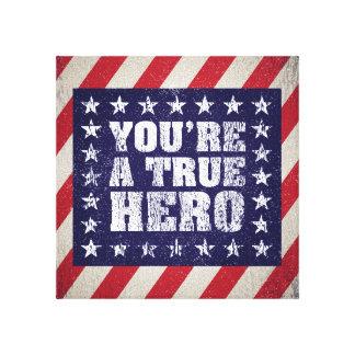 Muestra americana patriótica del héroe lona envuelta para galerias