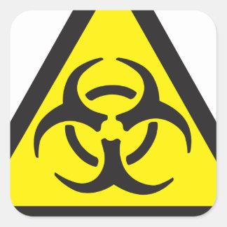 Muestra amonestadora del Biohazard Calcomanías Cuadradases