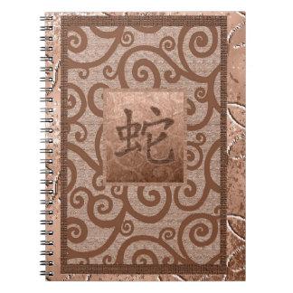 muestra anaranjada de la serpiente notebook