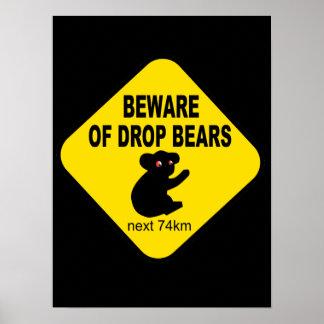 Muestra australiana divertida. Guárdese de osos de Poster