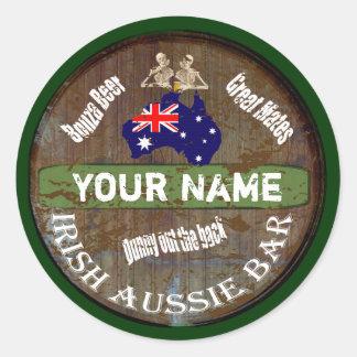 Muestra australiana irlandesa personalizada del pu pegatinas redondas