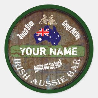 Muestra australiana irlandesa personalizada del pu pegatina redonda