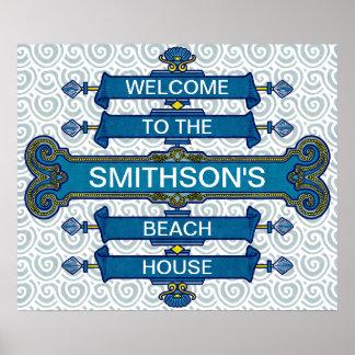 Muestra azul de encargo de la casa de playa con póster