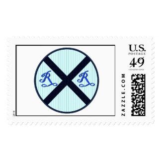 Muestra azul del ferrocarril del vintage sello postal