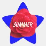 muestra azul del verano de la camelia roja colcomanias forma de estrellaes personalizadas