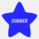muestra azul del verano calcomanía forma de estrellae
