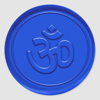 Muestra azul grabada en relieve de OM Etiquetas Redondas