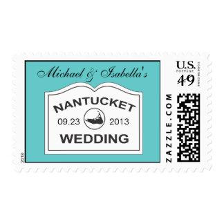 Muestra blanca de la fecha del boda de Nantucket Sello Postal