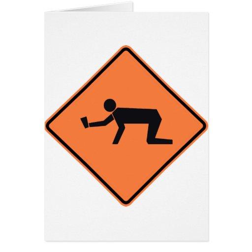 Muestra borracha de la carretera de la zona tarjeta de felicitación