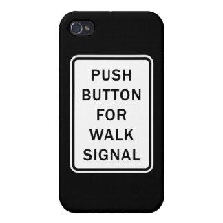 Muestra - botón para la señal del paseo iPhone 4 protectores