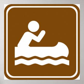 Muestra Canoeing de la carretera del agua blanca Póster