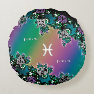 Muestra céltica Piscis del zodiaco del fractal del Cojín Redondo