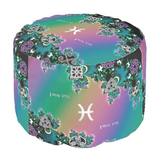 Muestra céltica Piscis del zodiaco del fractal del Puf Redondo