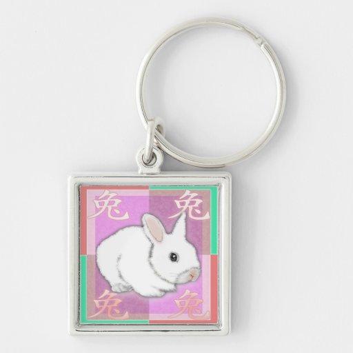muestra china de la astrología - año del conejo llaveros personalizados