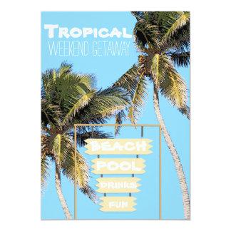 """Muestra colgante de madera tropical invitación 5"""" x 7"""""""