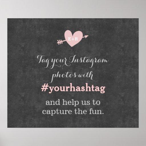 Muestra con clase de Hashtag de las fotos del boda Póster