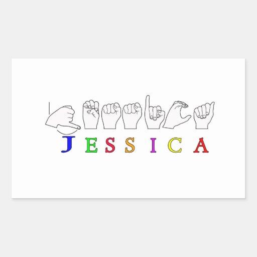 MUESTRA CONOCIDA ASL FINGERSPELLED DE JESSICA PEGATINA RECTANGULAR