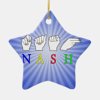 MUESTRA CONOCIDA DE NASH ASL FINGERSPELLED ADORNO NAVIDEÑO DE CERÁMICA EN FORMA DE ESTRELLA