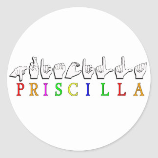 MUESTRA CONOCIDA DE PRISCILLA ASL FINGERSPELLED PEGATINA REDONDA